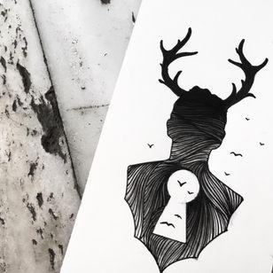 A surreal sihouette of Sake (IG—sakestc). #antlers #birds #fineart #locket #Sake #silhouettes
