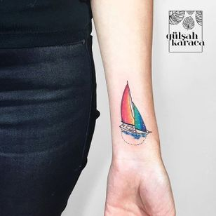 Yacht tattoo by Gülşah Karaca. #GulsahKaraca #illustrative #graphic #technicolor #trippy #geometric #yacht #rainbow #dreamy