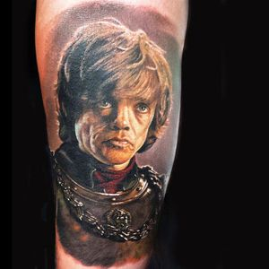 Tyrion Lannister Tattoo by Steve Butcher #SteveButcher #Tyrion #Lannister #TyrionLannister #TyrionTattoo #TyrionLannisterTattoo #PeterDinklage #Portrait #GameofThrones