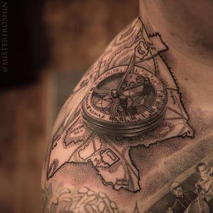Compass and map by Dmitriy Troshin #DmitriyTroshin #mistertroshin #blackandgrey #linework #realism #realistic #map #compass #travel #landscape #tattoooftheday