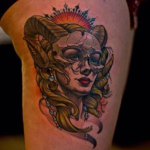Zodiac tattoo by Josh Grable #Neotraditional #Aries #joshgrable