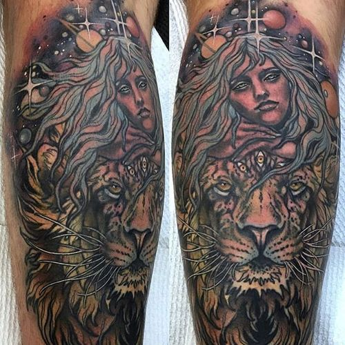 Neo traditional astrological themed piece for a client on the Leo-Virgo cusp. Tattoo by Rachi Brains. #neotraditional #illustrative #sketchy #leo #lion #virgo #astrology #RachiBrains