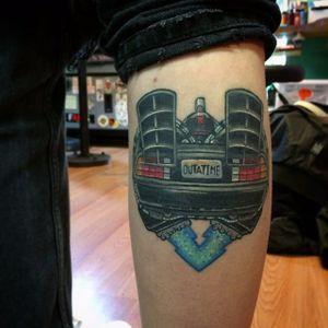 Delorean car heart tattoo by Chris Sparks. #heart #popculture #ChrisSparks #delorean #BacktotheFuture #car