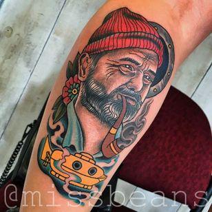 Steve Zissou Tattoo by Jessie Beans #stevezissou #colorfultattoo #traditional #traditionaltattoo #boldtattoos #brigthtattoos #JessieBeans