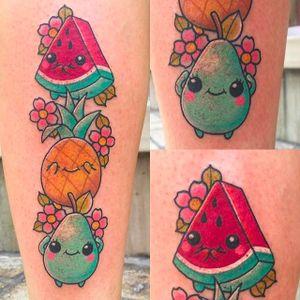 Cute little Fruit Tattoos by Meri @TattoosbyMeri #TattoosbyMeri #Spain #Cute #neotraditionaltattoo #fruits #neotraditional #Meri