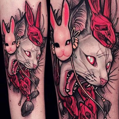 Neo-traditional albino neko tattoo by Brando Chiesa. #BrandoChiesa #neotraditional #albino #creature #animals #japanese #cat #mask #neko