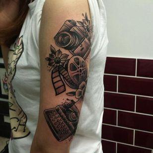 Art tattoo by Katie Trojan #KatieTrojan #filmroll #camera #typewriter