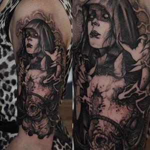 Dark Rider by Rob Borbas (via IG-grindesign_tattoo) #illustrative #horror #blackandgrey #robborbas #Grindesign