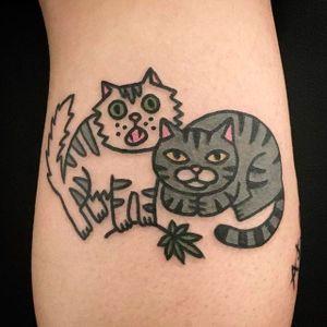 Cute Cats and Pot Leaf Tattoo by Jiran @Jiran_Tattoo #Potleaf #Potleaftattoo #Weedtattoo #Weed #Cutetattoo #Neotraditional #JiranTattoo #Korea #Cat