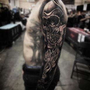 Black and grey skull and candle sleeve by JP Alfonso. #blackandgrey #realism #JPAlfonso #sleeve #skull #candle