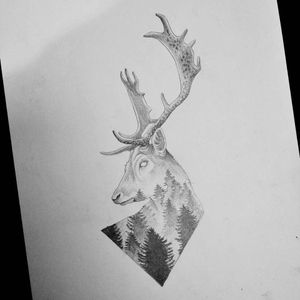 Design by Norako #Norako #dotwork #nature #stag #forest