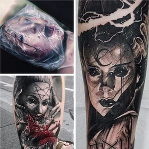 Awesome horror tattoo mash-up (Counter-clockwise) Paul Acker, Maksims Motovs, Anrijs Straume. #horror #realism #PaulAcker #MaksimsMotovs #AnrijsStraume