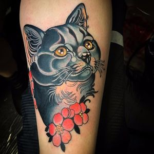 Sweet Kitty by Vale Lovette #ValeLovette #color #newtraditional #cat #kitty #petportrait #cherryblossoms #flowers #leaves #nature #animal #cute #tattoooftheday