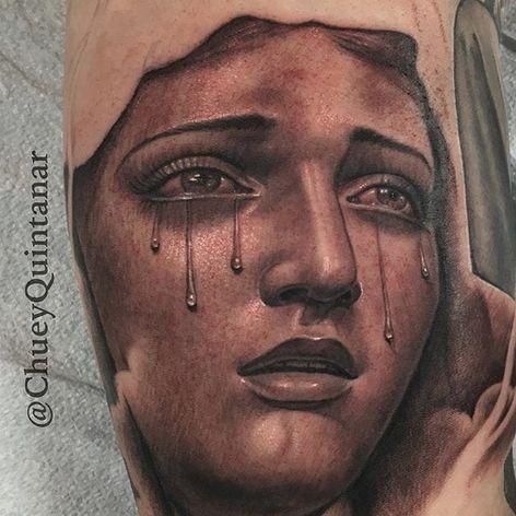 Tears being shed. (via IG - chueyquintanar) #blackandgrey #religious #religioustattoo #chueyquintanar