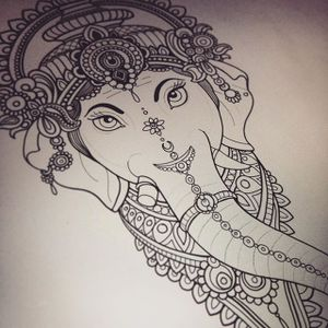 Flo Nuttall's (IG—flonuttall) excellent Ganesha-inspired design work. #FloNuttall #Ganesh #ornate