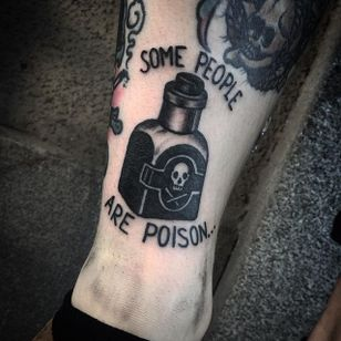 Poison Tattoo by Jack Ankersen #Blackwork #TaditionalBlackwork #BlackTattoos #Illustrative #BoldBlackwork #JackAnkersen #btattooing #blckwrk #poison