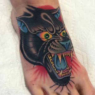 Panther Tattoo by Griffen Gurzi #panther #panthertattoo #traditional #traditionaltattoo #oldschooltattoo #oldschooltattoos #GriffenGurzi