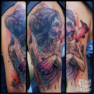 Belíssima #RussellVanSchaick #gringo #watercolor #aquarela #sketchstyle #woman #mulher #girl #garota #sexy #flower #flor #zombie #zumbi