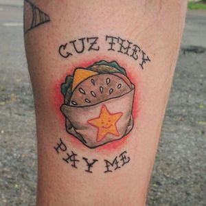 Tattoo por Cassandra Colleen! #CassandraColleen #Hamburguer #burger #burgerlove #hamburger #star #estrela