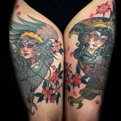 Neo-traditional by Claudia De Sabe #ClaudiaDeSabe #neotraditional #lady #bird #cherryblossom #tattoooftheday