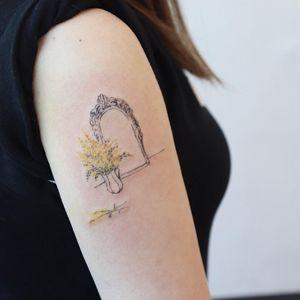 Mirror and flowers tattoo by Gong Greem #GongGreem #planttattoos #linework #color #vase #blackandgrey #mirror #frame #filigree #ornamental #minimal #fineline #illustrative #flowers #leaves #nature #plant #tattoooftheday
