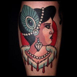 Woman Tattoo by Sebastian Domaschke #woman #traditional #neotraditional #bold #classic #oldschool #SebastianDomaschke