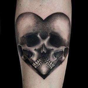 Skull love by Cally-Jo #CallyJo #skull #blackwork #heart #tattoooftheday