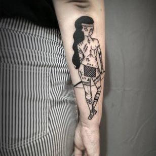 Tattooed warrior tattoo by Ophélie Taki #OphélieTaki #illustrative #blackwork #childhood #warrior