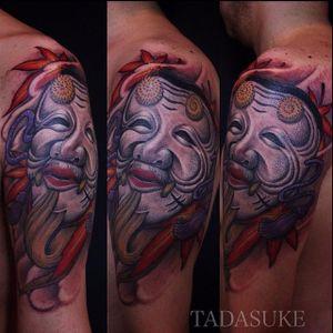 Okina Mask Tattoo by Tadasuke Homma #OkinaMask #NohMask #Japanesetattoo #TadasukeHomma