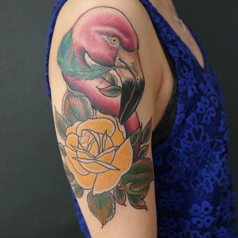 Flamingo tattoo by John Peeler #JohnPeeler #flamingo #rose