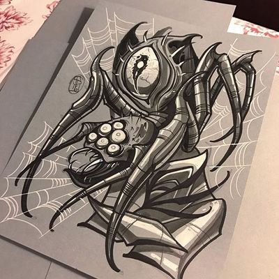 A nasty spider with a ninth eye in its back by Dave Tevenal (IG—davetattoos). #artshare #blackandgrey #DaveTrevenal #drawings #fineart #illustrations #rose #spider