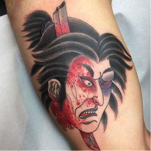 Namakubi tattoo by Acetates #Namakubi #Japanese #severedhead #Acetates #japanesestyle