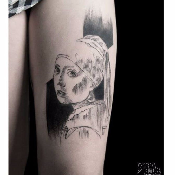 Vermeer inspired tattoo by Serena Caponera #fineartists #SerenaCaponera #vermeer #painter #painting #fineart #masterpiece #art #museum