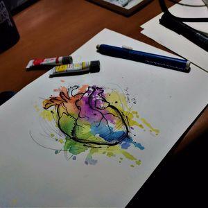 Coração anatômico. #MarianaSilva #MarianaLeãozinho #TatuadorasDoBrasil #coração #heart #colorida #colorful #aquarela #watercolor