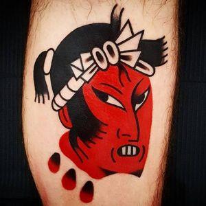 Namakubi tattoo by Uve #Uve #Japanesetattoos #color #redink #namakubi #minimal #simple #abstract #bold #graphic #tattoooftheday