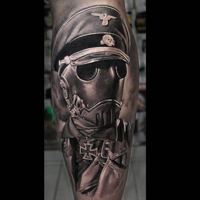 Intense shading and detail work on this black and gray tattoo by Anastasia Forman. #AnastasiaForman #realistic #blackandgray #robot