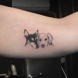 Two adorable puppies (IG-@dan_tattoo_o) #blackwork #dotwork #cattattoo #linework #southkorea #southkoreantattooartist #southkorean #puppyportrait #puppy #puppytattoo #dogtattoo #dogportrait #dog