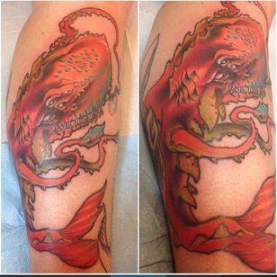 Sea monster by Jay Blevins (via IG -- highstreettattoo) #jayblevins #seamonster #seamonstertattoo