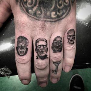 Horror movie monster micro tattoos by Isaiah Negrete. #IsaiahNegrete #blackandgrey #fineline #microtattoo #horror #monster #classic #frankenstein #werewolf