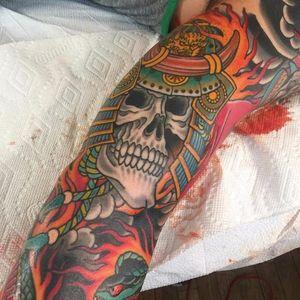 This samurai skull has an old school feel. Tattoo by Chris O'Donnell. #ChrisODonnell #TraditionalJapanese #KingsAvenueTattoo #NewYorkTattooer #oriental #easternculture #skull #asianart #samurai