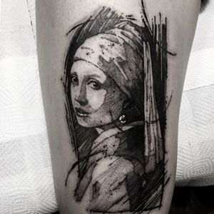 Girl With a Pearl Earring by Vermeer. Tattoo by Gghost #Gghost #finearttattoos #illustrative #linework #painting #girlwithapearlearring #vermeer #lady #portrait