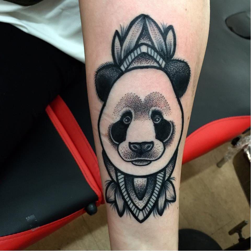 Panda tattoo by Annmarie Cahill #AnnmarieCahill #blackwork #dotwork #mandala #panda