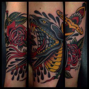 Snake Head Tattoo by Jay Breen #snakehead #snakeheadtattoo #traditional #traditionaltattoo #oldschool #classictattoos #traditionalartist #JayBreen