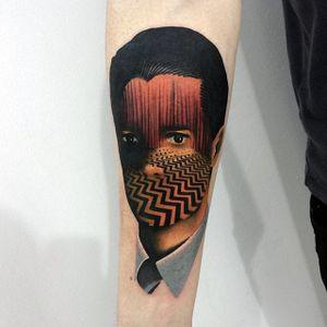 Tattoo by Giena Todryk #GienaTodryk #twinpeaks #contemporary #surrealism #portrait #color #tattoooftheday