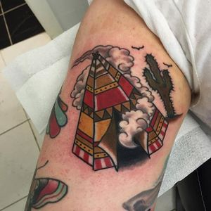 Tipi Tattoo by Kathryn Ursula #Traditional #TraditionalTattoos #OldSchool #KathrynUrsula #tipi