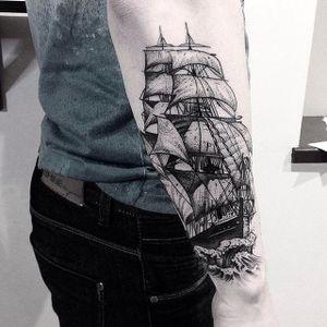 Blackwork ship tattoo by Vytautas Vy. #VytautasVy #blackwork #ship #nautical