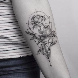 The nature within by Emrah Ozhan #emrahOzhan #blackandgrey #illustrative #dotwork #linework #shapes #geometric #rose #bird #feathers #wings #nature #tattoooftheday