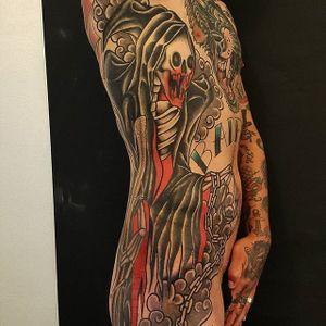 Reaper Tattoo by Jesper Jørgensen #reaper #reapertattoo #traditional #traditionaltattoo #oldschool #oldschooltattoo #darkart #darktraditional #JesperJorgensen