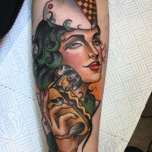 Tattoo by Guen Douglas #GuenDouglas #neotraditional #color #ladyhead #portrait #lady #hotdog #wiener #wienerdog #foodtattoo