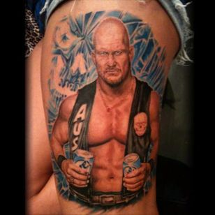 No Austin portrait is complete without some beers. Tattoo by Stevie Monie. #SteveAustin #StoneCold #StoneColdSteveAustin #wrestling #WWF #WWE #realism #color #colorrealism #StevieMonie